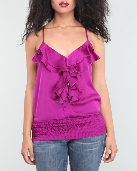 Baby Phat Women Purple Ruffle Front Cami