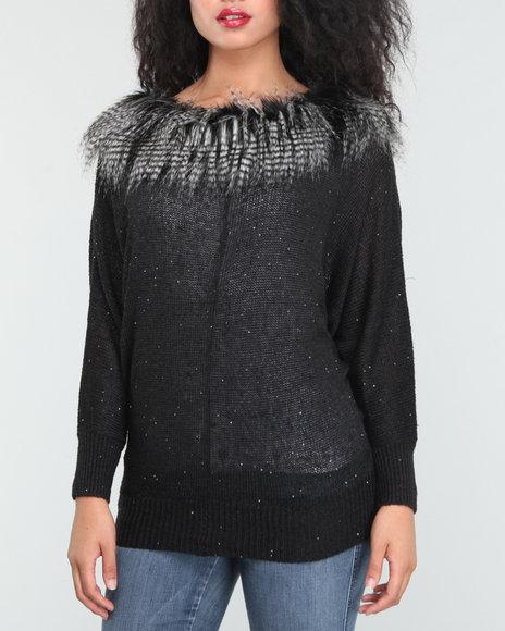 Baby Phat Women Black Faux Fur Trim Dolman Sweater