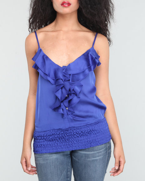 Baby Phat Women Blue Ruffle Front Cami