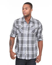 Button-down - Trout Roll Up Long Sleeve Plaid Woven Shirt
