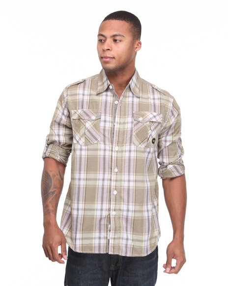 - Trout Roll Up Long Sleeve Plaid Woven Shirt