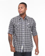 Button-down - Seaside Roll Up Long Sleeve Plaid Woven Shirt