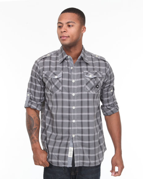 - Seaside Roll Up Long Sleeve Plaid Woven Shirt