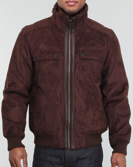 Sean John Men Brown Faux Fur Shearling Aviator Jacket