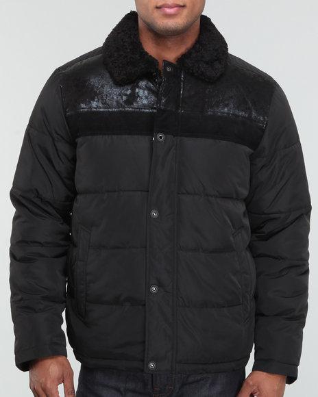 Sean John Men Black Sherpa Mixed Quilt Jacket