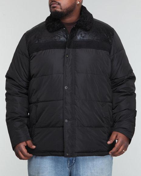 Sean John Men Black Sherpa Mixed Quilt Jacket (B&T)