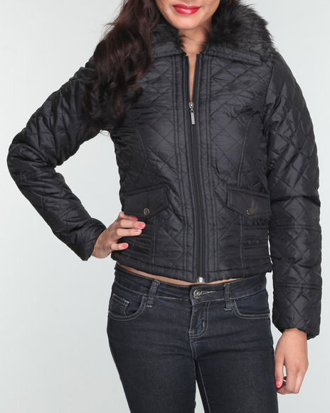 quilted nylon jacket w/faux fur