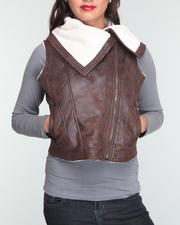 Basic Essentials - Vegan motorcycle faux seude vest