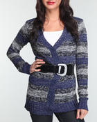Sweaters - Cardigan with lurex detail belt