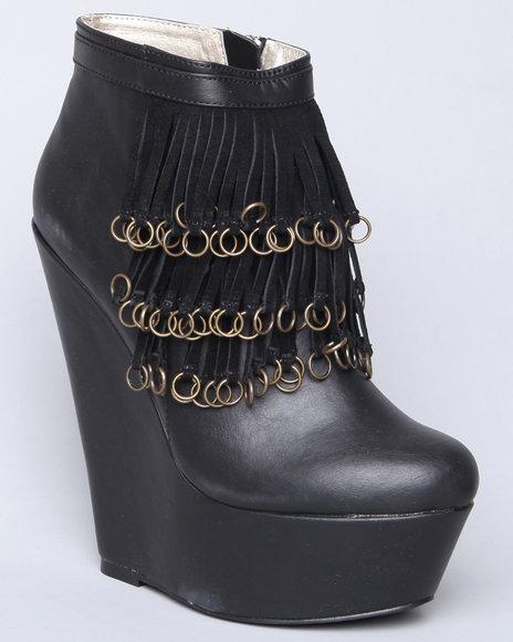 Image of Dereon Women Black Rosalia Fringe Rings Platform Bootie