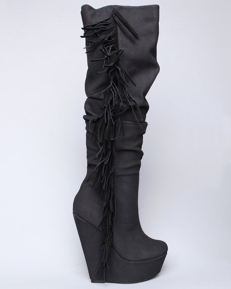 Image of Dereon Women Black Natalia High Platform Suede Fringe Boot