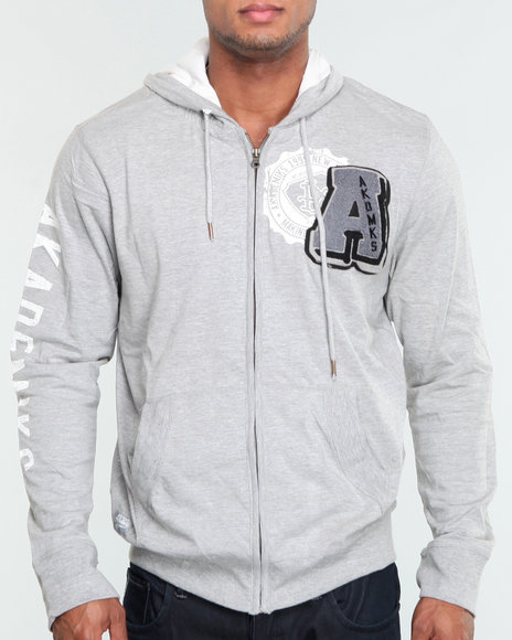 Akademiks Men Grey Berkley Lightweight Hoodie Pullover