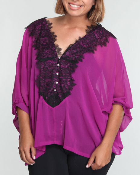 Baby Phat Women Purple Sheer Lace Front Top (Plus Size)