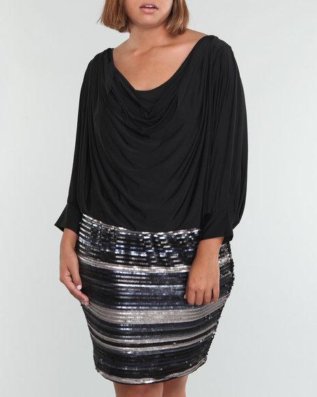 Baby Phat Women Black Drape Front Sequin Dress (Plus Size)