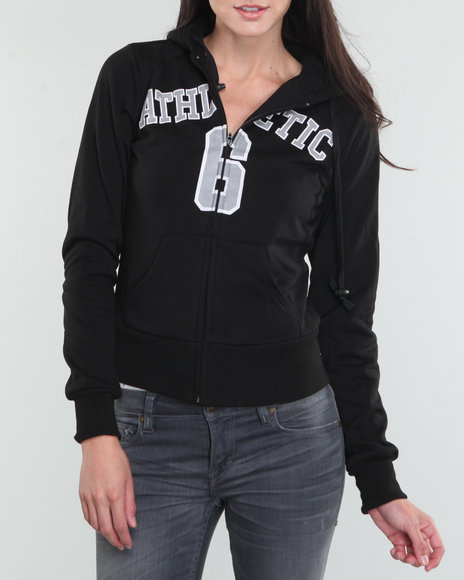 Basic Essentials Women Black Athletic Hoodie Jacket