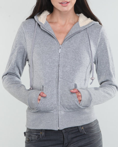 Basic Essentials Women Grey Basic Hoodie Jacket