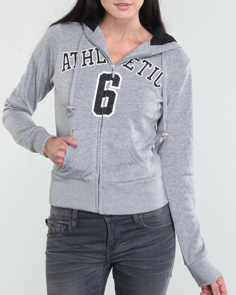 Basic Essentials Women Grey Athletic Hoodie Jacket