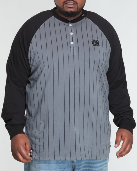 LRG Men Black Hard Slide Ls Henley