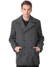 DJP OUTLET - Wool blend slim fit peacoat