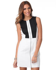 Dresses - Ponte Colorblock Zip Front Sheath