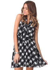 Women - Sleeveless Tie Neck Houndstooth Trapeze Dress