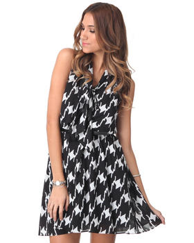 DJP OUTLET - Sleeveless Tie Neck Houndstooth Trapeze Dress