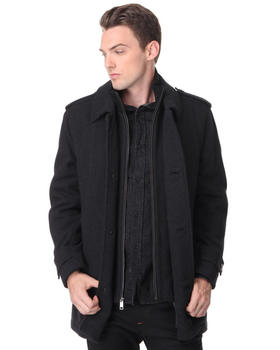 DJP OUTLET -  Wool Twill Carcoat w/ Epaulette Detail