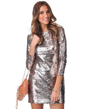 Dresses - Long Sleeve Open Back Sequin Dress