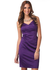 Dresses - Sleeveless Fitted Satin Sheath