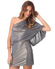 Women - 1 Shoulder Gold Liquid Metallic Dress
