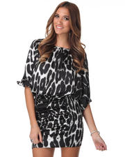 Women - Boat Neck Smocked Satin Cougar Print Dress