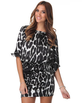 DJP OUTLET - Boat Neck Smocked Satin Cougar Print Dress