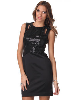 DJP OUTLET - Cut-Out Shoulder Sequin Satin Sheath