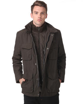 DJP OUTLET - Melrose Matte Oxford Military Jacket w/ Stitched Elbow Detail