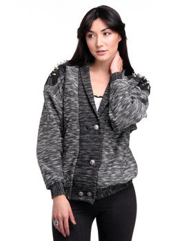 DJP OUTLET - Melange Knit Jacket Tweed w/ Spike Shoulder Detail