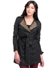 DJP OUTLET - Studded Topper Coat with Ruched Sleeves