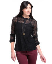DJP OUTLET - Blouson Sleeve Henley Blouse