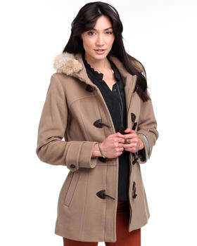 DJP OUTLET - Pristine Coyote Fur Trim Toggles Italian Cashmere Wool Coat