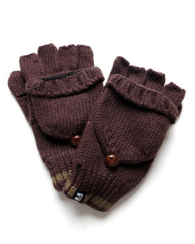 DJP OUTLET - Fleece Lined Glommit End Stripe Fingerless Mittens w/ Button Detail