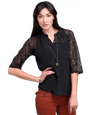 Tops - The Reese Lace Henley Blouse