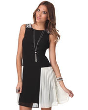 Dresses - Sleeveless Pleated Side Inserts Dress