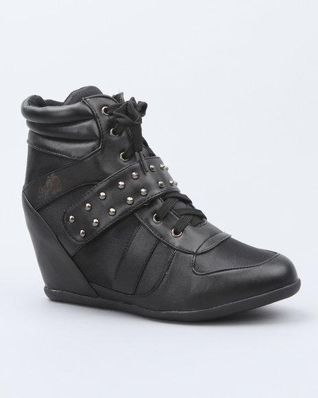 Apple Bottoms Women Black Junia Studded Wedge Sneaker