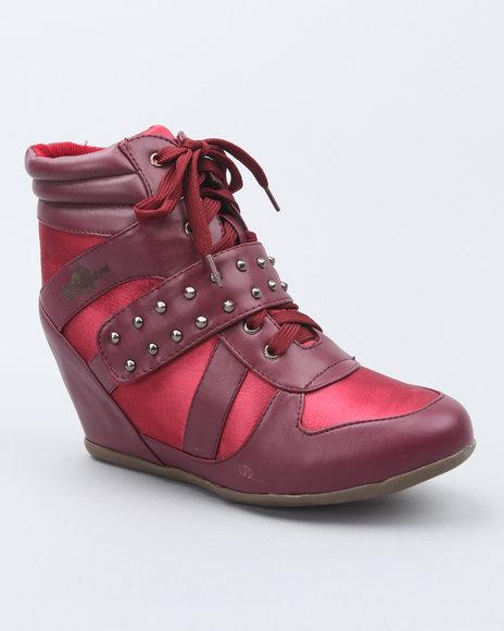 Apple Bottoms Women Maroon Junia Studded Wedge Sneaker