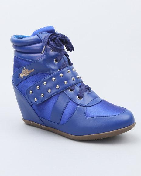 Apple Bottoms Women Blue Junia Studded Wedge Sneaker