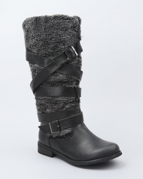 Fashion Lab Women Black Faux Fur Detail Boot