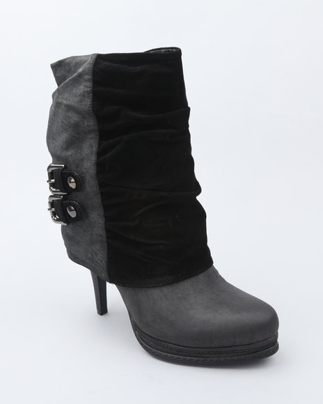Fashion Lab Black Ankle Bootie W/Buckle
