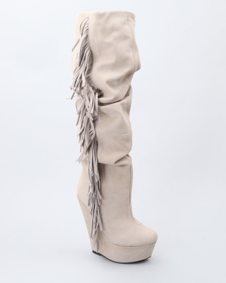 Image of Dereon Women Off White,Tan Natalia High Platform Suede Fringe Boot