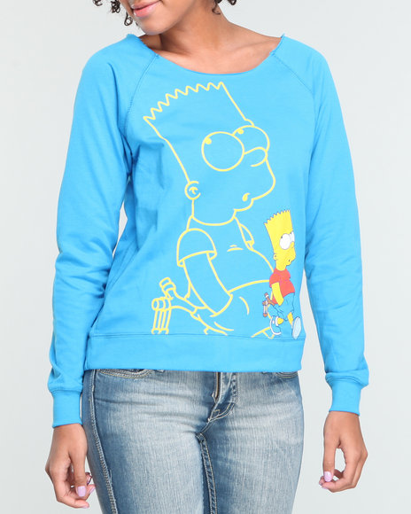 Graphix Gallery Women Blue Bart Simpson Pullover Sweatshirt