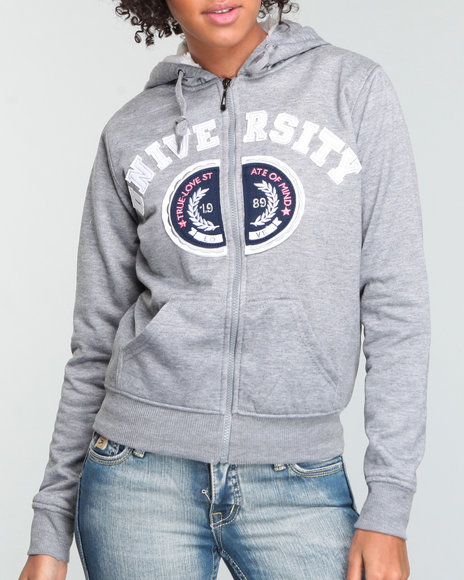 Basic Essentials Women Grey University Lined Sherpa Hoodie
