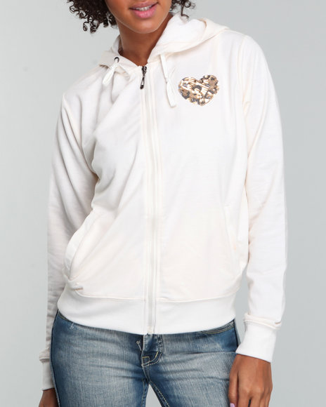Basic Essentials Women Cream Heart On Her Sleeve Hoodie